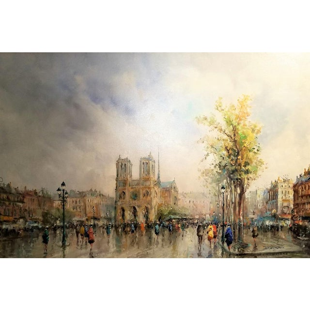 Impressionism Paris Notre Dame Oil Painting on Canvas by Demone For Sale - Image 3 of 11