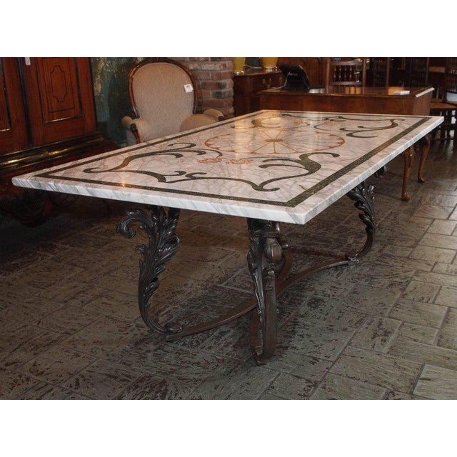 Antique Italian Mosaic Marble Table on French Iron Table Base - Image 7 of 8