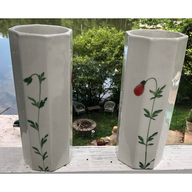 Super fun and vintage! These vases are hand painted and almost a perfect match aside from some nuances here and there. No...