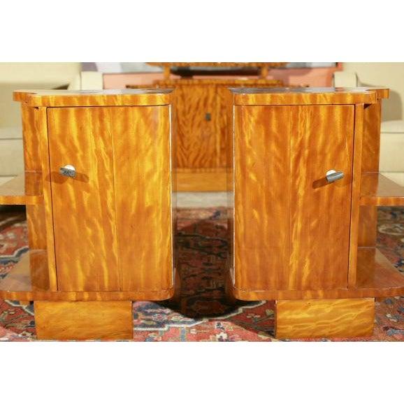 Art Deco Burl Wood Nightstands - A Pair - Image 2 of 8