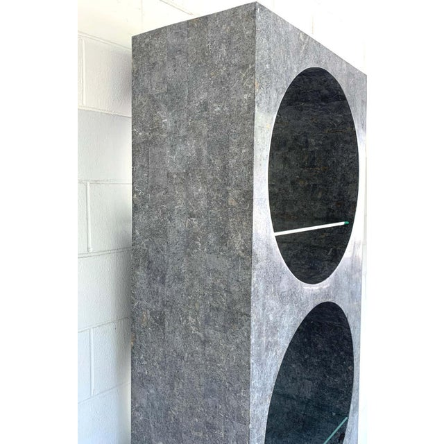 Late 20th Century Modern Tessellated Stone Monolithic Bookcase / Vitrine For Sale - Image 5 of 13