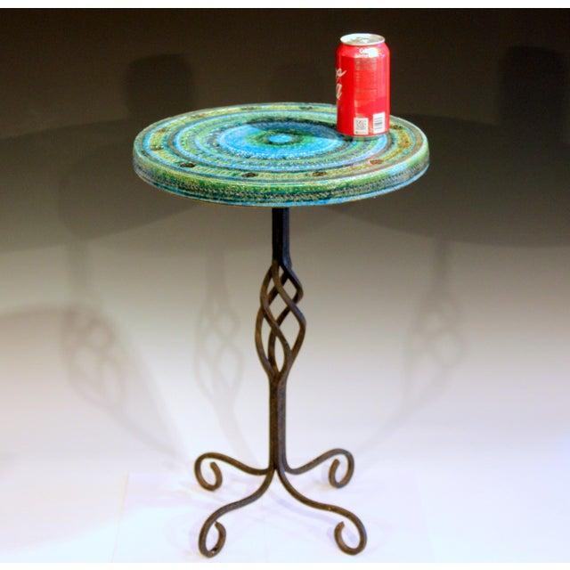 Italian 1960s Bitossi Rimini Blue Londi Italian Pottery Wrought Iron Ceramic Table For Sale - Image 3 of 10