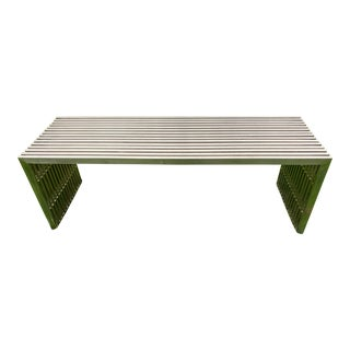 Mid-Century Modern Brushed Steel Reeded Cocktail Table or Bench For Sale