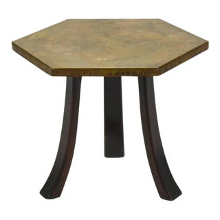 Harvey Probber Hexagonal Side Table with Bronze Top For Sale