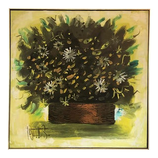 1970s Abstract Painting by Lee Reynolds of Floral Bouquet in Wicker Basket For Sale