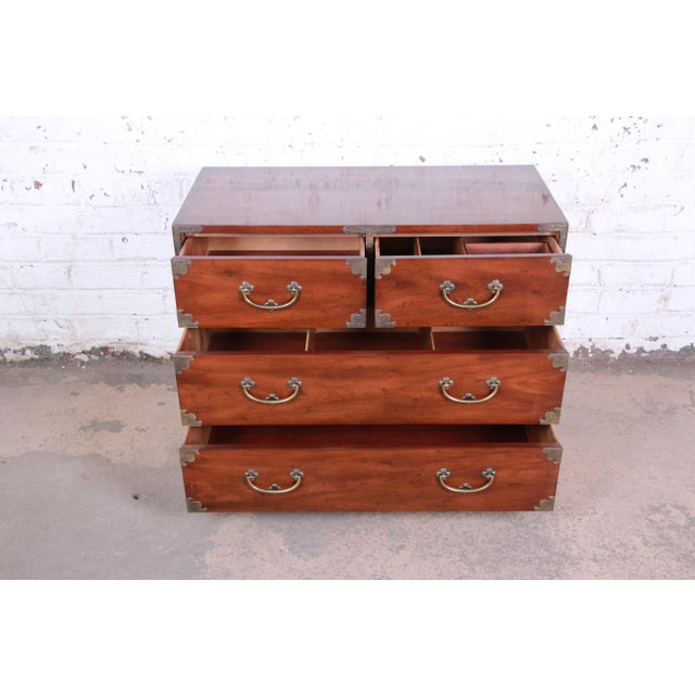 1970s Henredon Chinoiserie Campaign Style Walnut Four-Drawer Dresser Chest For Sale - Image 5 of 13