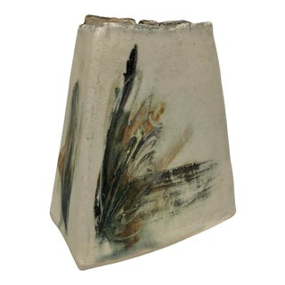 Abstract Triangular Handmade Pottery Vase For Sale