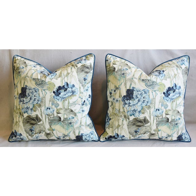 "Chinoiserie Crane & Floral Feather/Down Pillows 24"" Square - Pair For Sale In Los Angeles - Image 6 of 13"