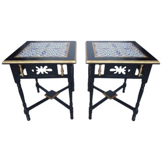 Art Nouveau Rosewood and Tile Side Tables - a Pair For Sale
