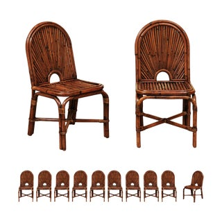 Spectacular Restored Set of 12 Rising Sun Style Bamboo Chairs, Circa 1975 For Sale