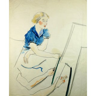 Woman in Blue at Easel For Sale