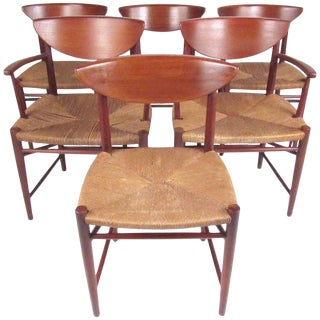 Set of Six Vintage Modern Peter Hvidt Dining Chairs in Teak and Rush For Sale
