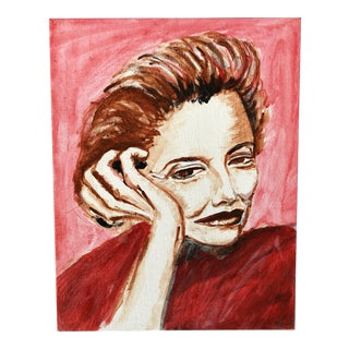 Vintage Red and Pink Portrait of a Woman For Sale