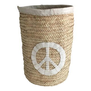 Peace Sign Wicker Basket