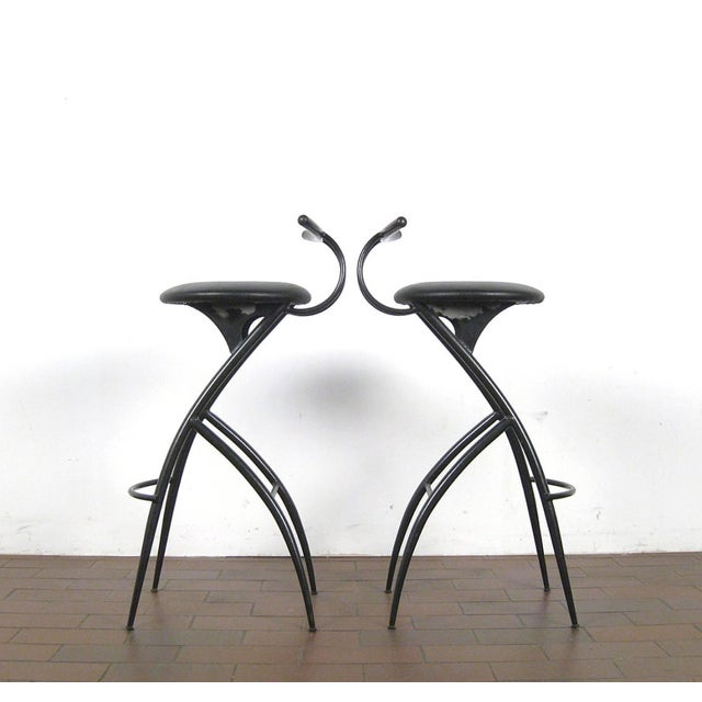 Set of five (5) 1980s Italian Postmodern barstools in black lacquered metal and seats in black faux leather.