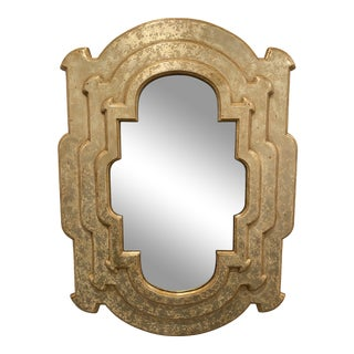 Distressed Gold Finish Sculptural Wall Mirror For Sale