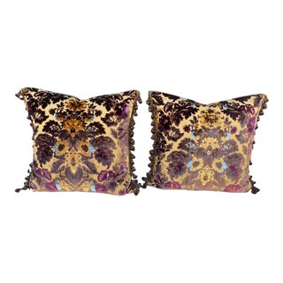 Luigi-Bevilacqua Silk Velvet Pillows - A Pair For Sale