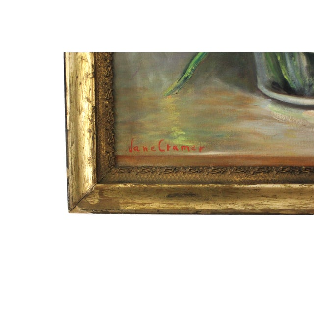 Mid-Century Iris Oil Painting by Jane Cramer For Sale - Image 5 of 8