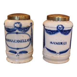 A Pair of 18th C. Blue and White Apothecary Jars For Sale