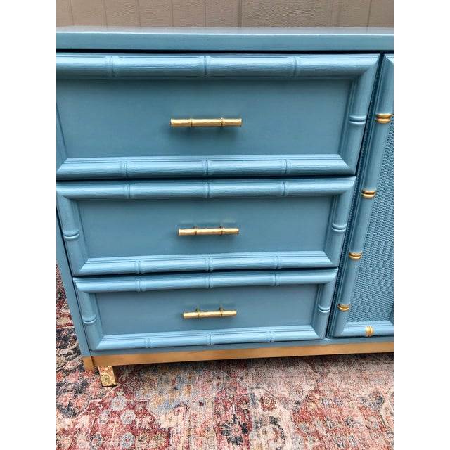 Hollywood Regency Vintage Faux Bamboo and Caned Dresser For Sale - Image 3 of 13