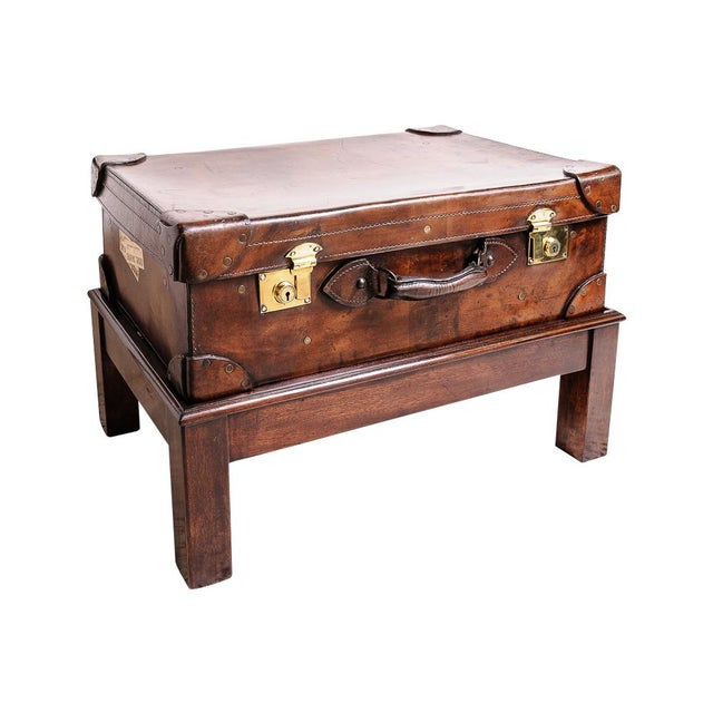 Leather trunk on stand For Sale - Image 11 of 11