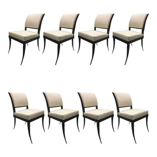 Maison Jansen Chicest Black Neoclassic Exceptional Set of Eight Dinning Chairs For Sale