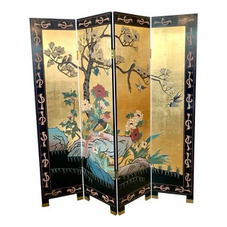 Chinese Gold Leaf and Black Lacquer Room Divider Folding Screen. For Sale