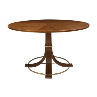 Italian Midcentury Circular Center Table With Brass Stretcher, Circa 1950