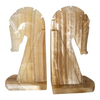 Mid Century Modern Onyx Marble Horse Head Bookends - a Pair Office Decor Paperweights Large For Sale