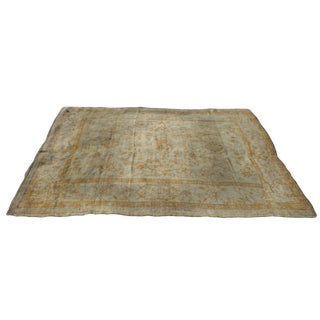 1930s Vintage Turkish Oushak Rug With Gray Undertones in the Field - 8′10″ × 10′9″ For Sale