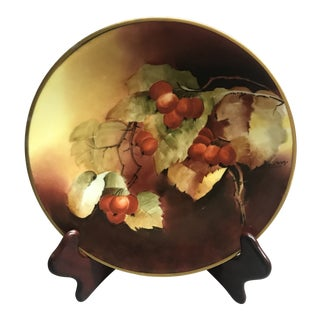"Antique Jpl France 9"" Plate. Hand Painted Citrus With Gold Trim Edge, Artist Signed. For Sale"
