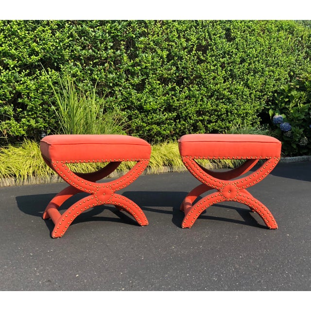 Contemporary Pair Modern Decorator Stools For Sale - Image 3 of 11
