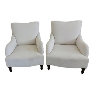 English Style White Upholstered Low Club Chairs - aPair