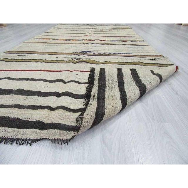Vintage Striped Turkish Kilim Rug - 4′11″ × 10′6″