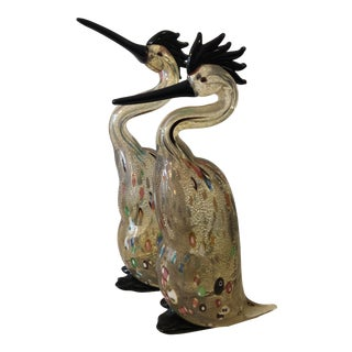 Murano Mid Century Confetti Art Glass Heron Figurines - a Pair For Sale