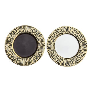 L'Objet 24k Gold Plated Hand Made Porcelain Animal Print Plates - a Pair For Sale