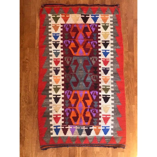 Turkish Anatolian natural dye Rug. ORIGIN : Region of Antalya (TURKEY) MATERIAL : 100% hand spun organic wool SİZE : 3' x...