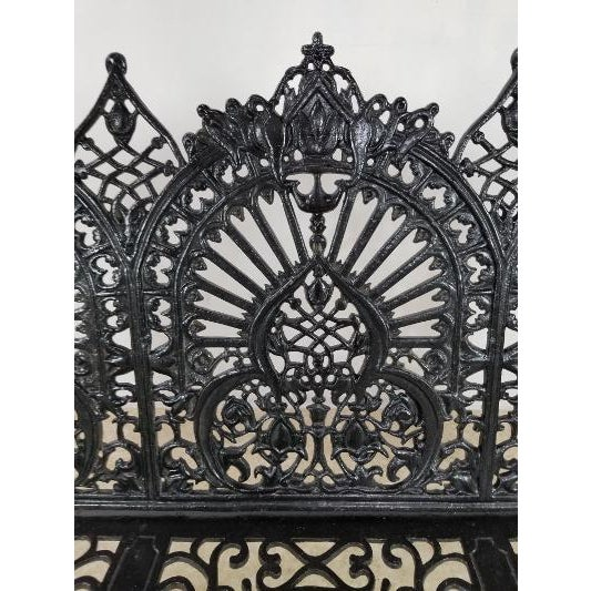 Black Antique American Cast Iron Park Bench For Sale - Image 8 of 13