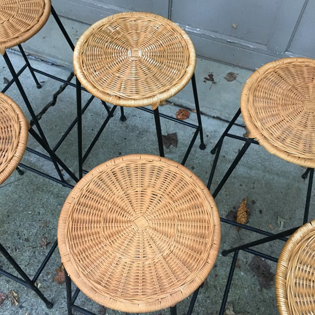 1960s Vintage Danny Ho Fong Iron and Wicker Bar Stools - Set of 6 For Sale - Image 10 of 11