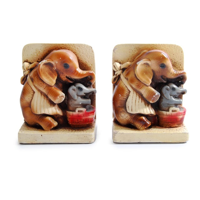1944 Pd & Co Chalkware Elephant Bookends - Pair - Image 2 of 5