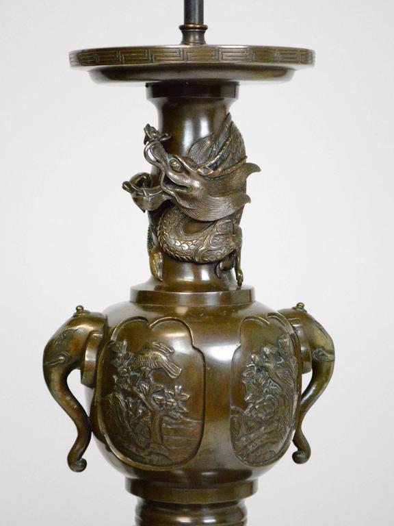19th Century Japanese Bronze Lamps   A Pair   Image 4 Of 7