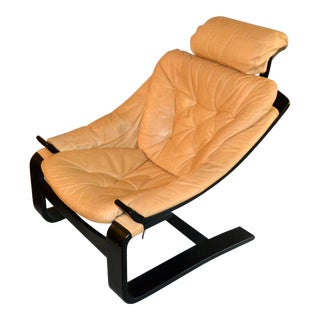 20th Century Swedish Leather Kroken Cantilever Chair by Ake Fribytter for Nelo For Sale