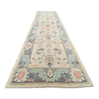 "Handmade Turkish Oushak Runner- 3'1"" X 12'3"" For Sale"