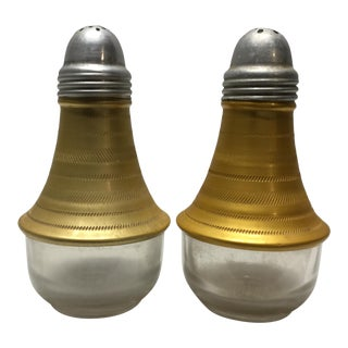 Vintage Mid-Century Modern Salt & Pepper in Two-Tone Gold Aluminum and Glass For Sale