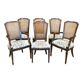 Kindel French Louis XV Style Cane Back Dining Chairs - Set of 6 For Sale