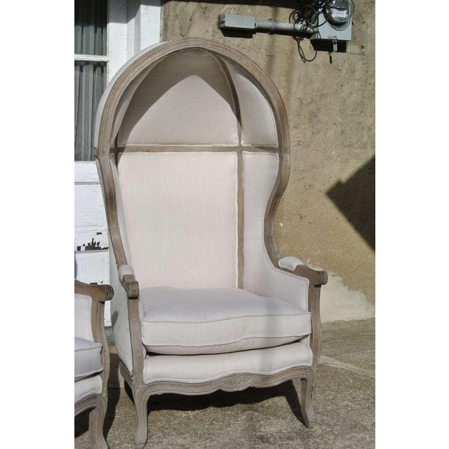 Country Pair of French White Linen Canopy Hood Bishops Chairs For Sale - Image 3 of 10