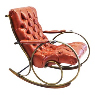 1970s Modern Woodard Sculptural Tufted Leatherette Rocking Chair For Sale