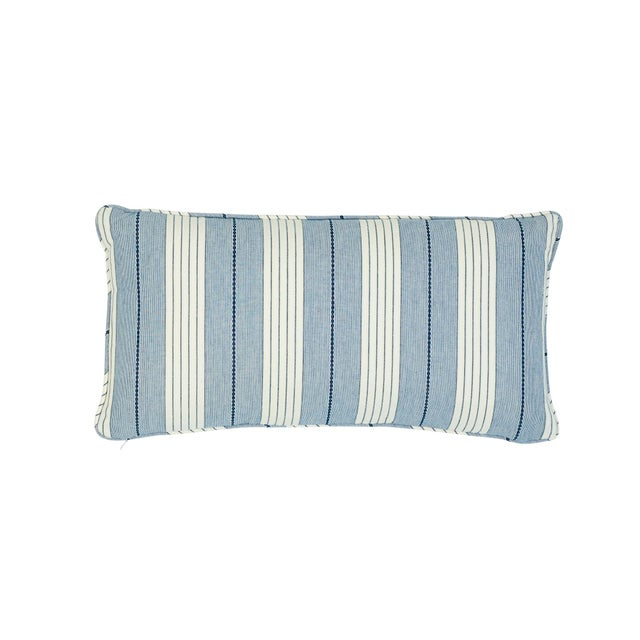 Early 21st Century Schumacher Audrey Stripe Lumbar Pillow in Navy For Sale - Image 5 of 5