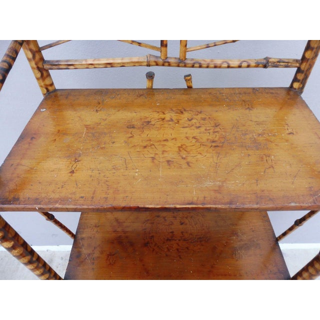 19th century fine tortoise shell bamboo 4 tier etagere or magazine rack sold as found in vintage condition previously...