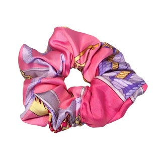 Hermes Handmade Vintage Silk Scarf Scrunchie in Pinks and Purples For Sale